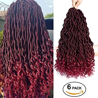 6 Packs/Lot Faux Locs Crochet Hair Braids 24 Roots/Pack Goddess Locs Faux Locs with Curly Ends Synthetic Braiding Hair Extension (1B/Bug)