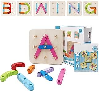 Wooden Letter Number Construction Puzzle Educational Stacking Blocks Toy Set, Preschool Toys Shape Color Recognition Pegboard Activity Board Sort Blocks Stack Sort Game for Kids Toddler Boys Girls