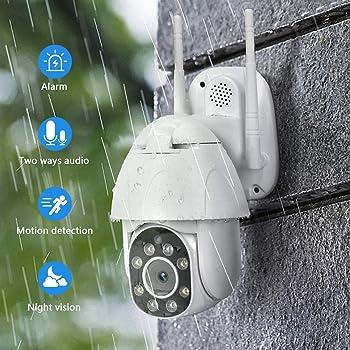 C/ámara PTZ Vigilancia Exterior IP Visi/ón Nocturna Detecci/ón de Movimiento Sonido y Luz Advertencia Monitorizaci/ón Remota v/ía Smartphone//Tableta C/ámara WiFi Exterior