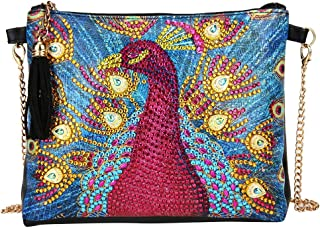 DIY 5D Diamond Painting Peacock Crossbody Bag, ZSYUNI Special Shaped Drill Cross Stitch Handbag Purse Tote Shoulder Bag Embroidery Kit Leather for Girl Women Adults Art Craft Decor