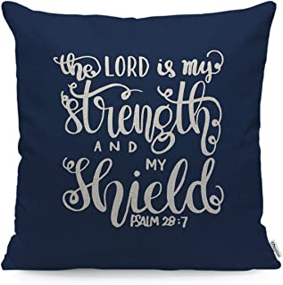 WONDERTIFY Throw Pillow Case Cover The Lord is My Strength and My Shield Bible Verse Christian Lettered Quote Soft Linen Pillow Case for Decorative Bedroom/Livingroom/Sofa Cushion Covers 18x18 Inch