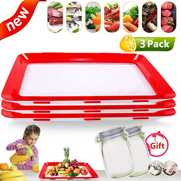 Food Preservation Tray Food Plastic Preservation Tray Safe Multi Function Kitchen Tools Food Keep Fresh Tray Healthy Seal Storage Container 3pack 2food Bag