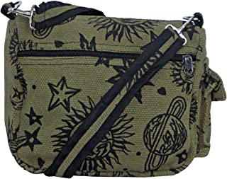 Sun Moon Stars and Planets Celestial Hippie Boho Crossbody Single Shoulder Bag (Green)