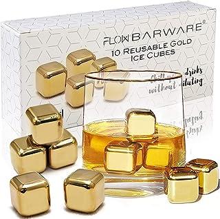 10 x goldene Whiskysteine aus Edelstahl Ice Cube Chilling Stone Rocks, wiederverwendbare Metalleiswürfel für Whisky, Wein & Gin & Tonic Drinks von FLOW Barware Gold