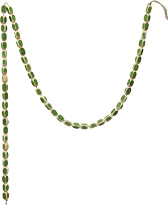 """Creative Co-Op 72"""" L Pieces, Natural & Green Wood Garlands, Multi"""