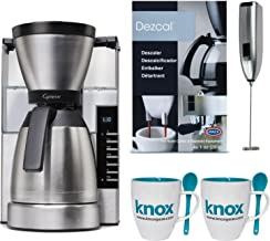 Capresso 498.05 MT900 Rapid Brew Coffee Maker, Stainless Steel Includes Handheld Milk Frother, Descaling Powder and 2 Mugs with Spoons
