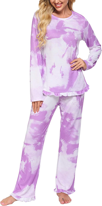Minneapolis Mall Ekouaer Fort Worth Mall Women's Pajamas Sets Long Sleeve Pants Plaid with Soft S