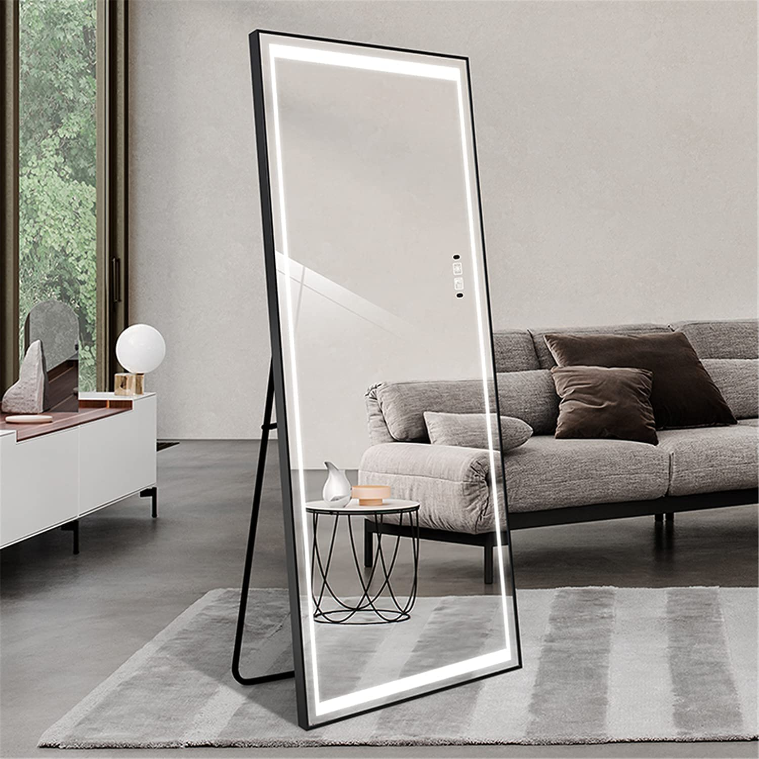 """LAIYA 65""""24"""" LED Mirror Wall Full Length Mirror with Lights Stand Light Up Body Mirror Tall Full Size Big Bedroom Mirror Giant Full Body Mirror Large Floor Mirror with Lights Leaner Lighted Mirror"""