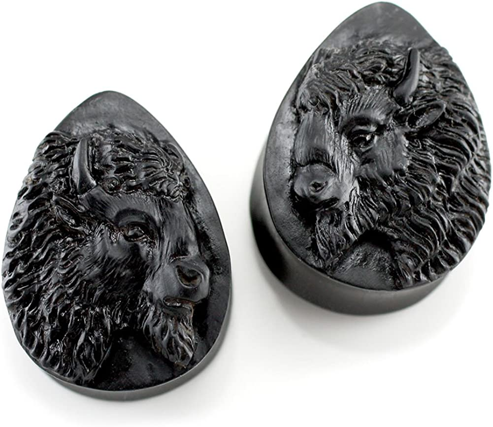 Steel Navel Body Jewelry Pair of Arang Wood Double Flared North American Bison Teardrop Plugs: 5/8