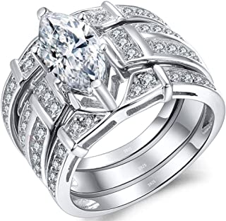 MABELLA Trio Sterling Silver Cubic Zirconia CZ Marquise Wedding Ring Set Anniversary for Women
