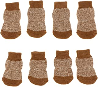 F Fityle 4 Pairs Cotton Anti-Slip Dog Socks, Pet Paw Protection for Indoor Wear - Knitted Pet Dog Cat Socks Rubber Reinforcement S + M