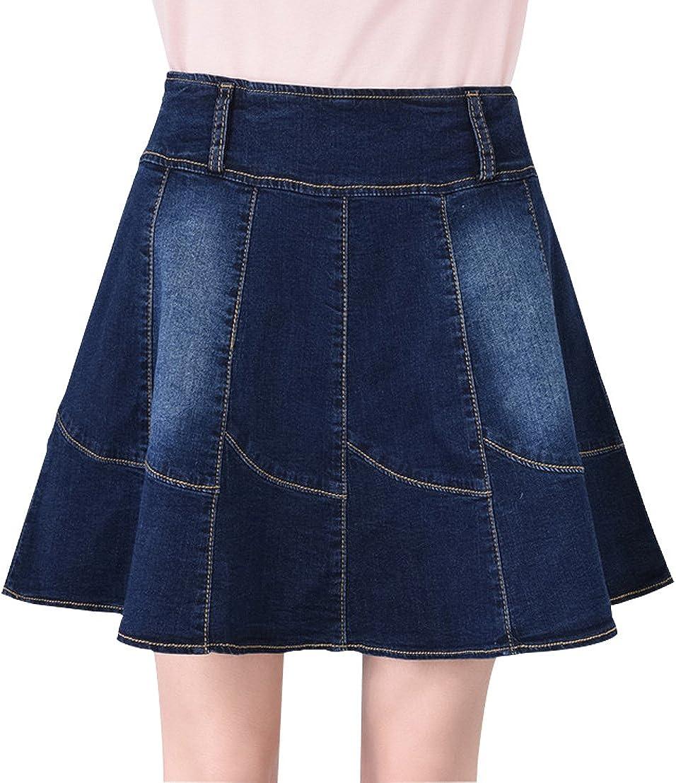 Gihuo Women's Casual High Waist Zip up A-Line Skater Short Mini Denim Skirts