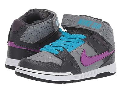Nike Kids Mogan Mid 2 Jr (Little Kid/Big Kid) (Cool Grey/Vivid Purple/Blue Lagoon) Boy
