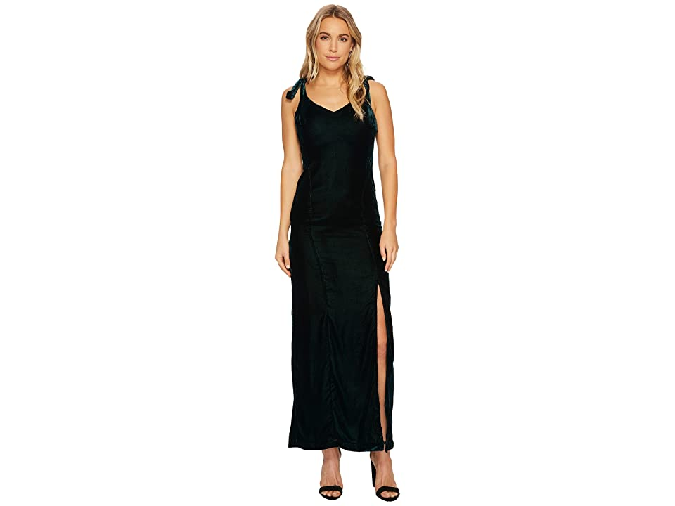 J.O.A. Velvet Tie Shoulder Maxi Dress (Forest) Women