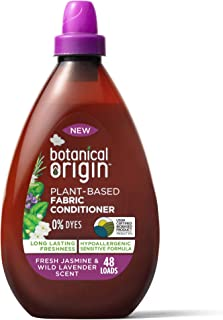 Botanical Origin Plant-Based Fabric Softener, Free from Parabens and Dyes, Fresh Jasmine & Wild Lavender (48 Loads), 32.46...