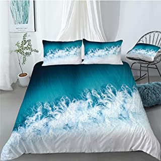 3D Sea Waves Duvet Cover Twin Sea Spray Bedspread Light Blue Bedding Set Zipper Closure 3 Piece 100% 120gsm Ultra Soft Mic...