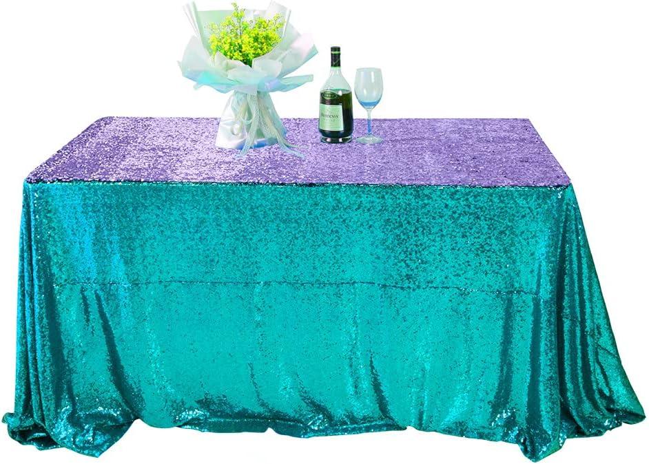Seamless 50x102 Great interest Japan's largest assortment Inch Aqua to Mermaid Purple Tablecloth Rectangle