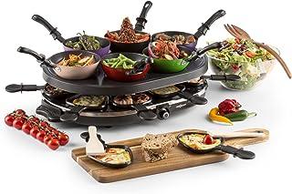 oneConcept Woklette Grill-raclette - Grill de table, Grill festif, 1200 W, température réglable en continu, 8 poelons et s...