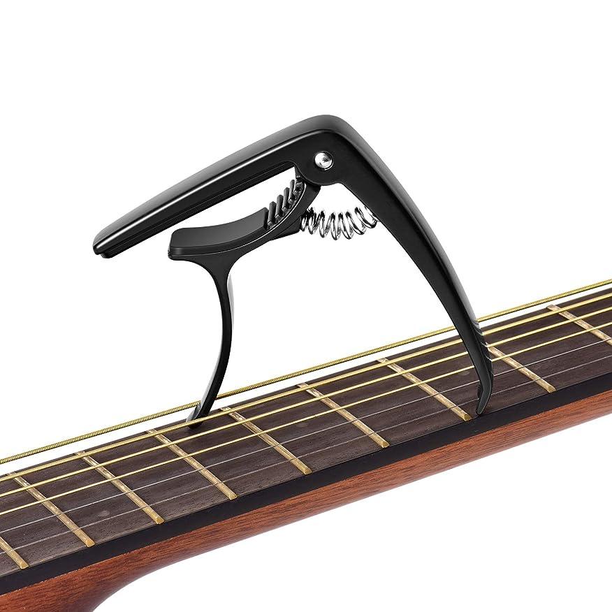 文明請求可能配当HEBIKUO ギターカポタストアコースティックギター エレキギター ベース ウクレレ アコギ用ギターカポ 黒