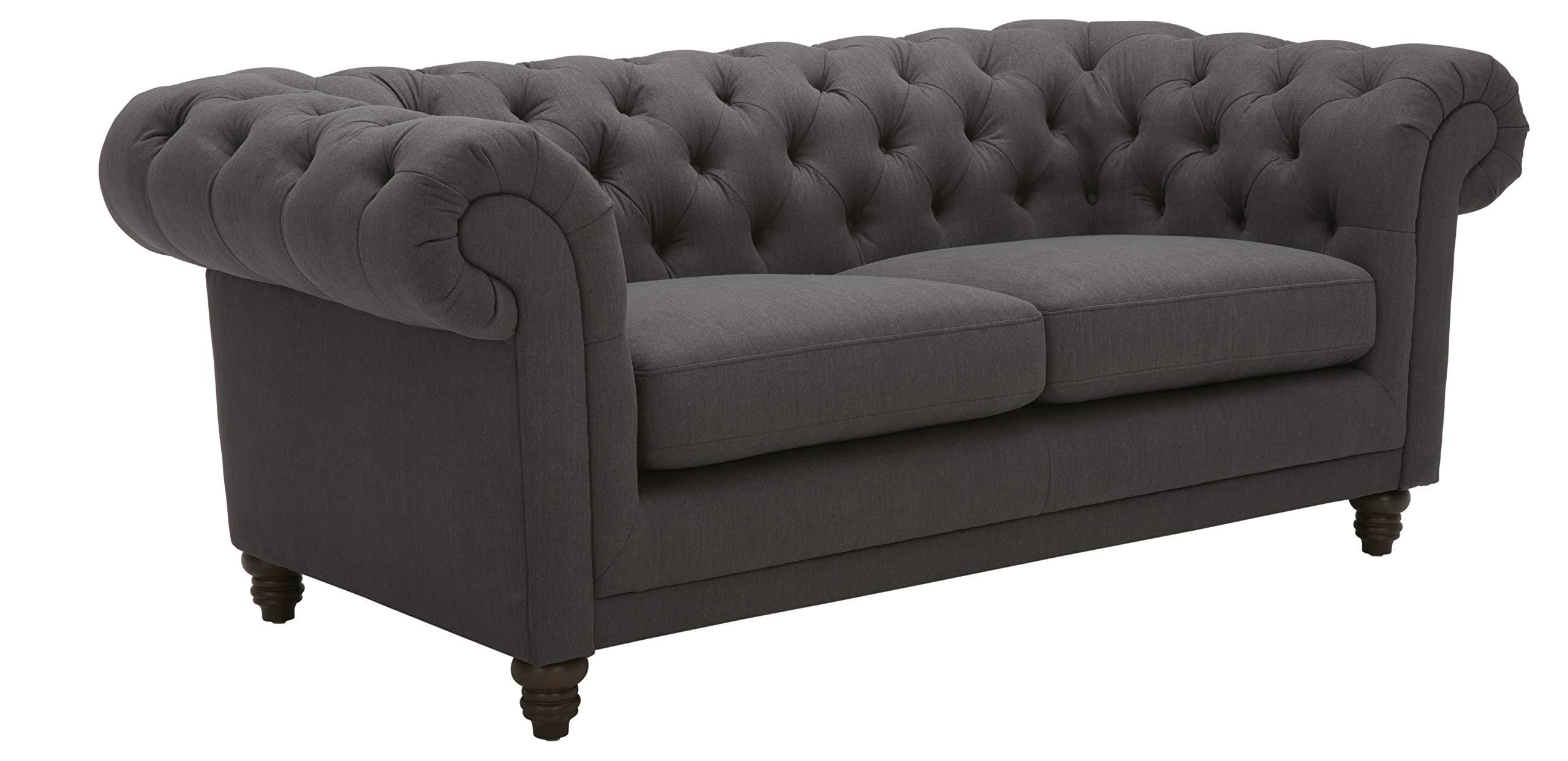 "Amazon Brand – Stone & Beam Bradbury Chesterfield Tufted Loveseat Sofa Couch, 78.7""W, Pepper"