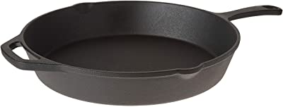 """Home-Complete Pre-Seasoned Cast Iron Skillet-12 inch for Home, Camping Indoor and Outdoor Cooking, Frying, Searing and Baking, 12"""", Black"""