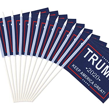 "Anley Donald Trump President 2020 Keep America Great Miniature Flag, 5x8 inches Handheld Stick Flag with 12"" White Solid Pole - Vivid Color and Fade Resistant - Mini Flags with Spear Top (1 Dozen)"