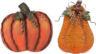 E-view Metal Flat Pumpkin Decor Free Standing Pumpkin Decoration for Home Yard Garden (Pumpkin Family-a)