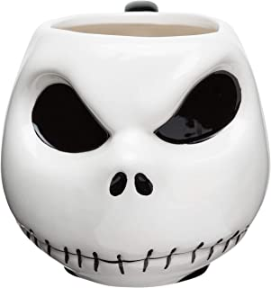 Zak Designs Disney's Nightmare Before Christmas Jack Skellington Unique 3D Character Sculpted Ceramic Coffee Mug, Collectible Keepsake and Wonderful Coffee Mug (11 oz., Jack Skellington, BPA-Free)