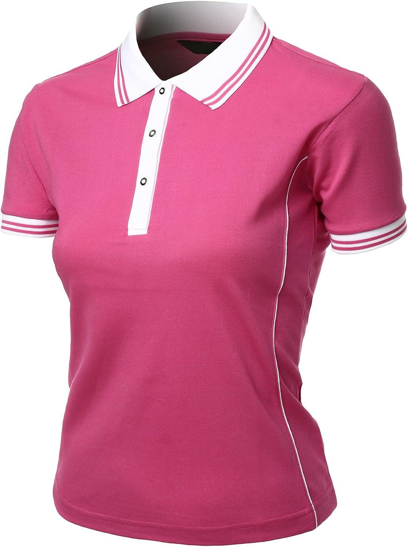 Xpril Women's 2 Tone Pique silket Polo Collar Short Sleeve T Shirt