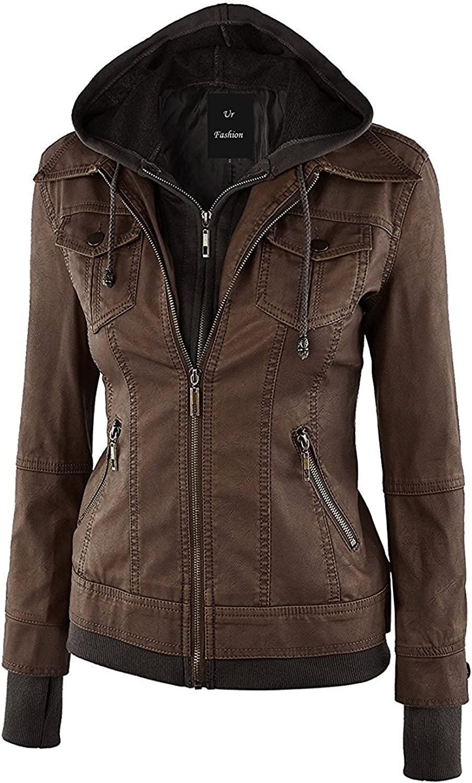 Infashion style Womens Fashion Faux Leather Detachable Cap Jacket with Pocket