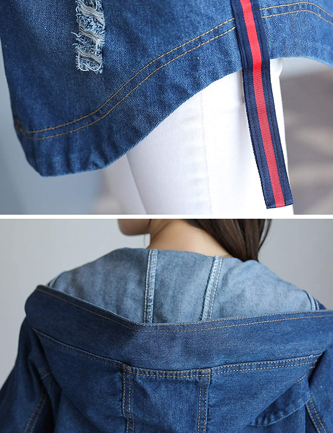 Springrain Women's Long Sleeve Zip Hooded Denim Jacket Windbreaker with Pockets