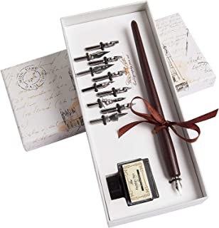 Hethrone Wooden Dip Pen Handcrafted Calligraphy Set with 10 Nibs & Black Ink
