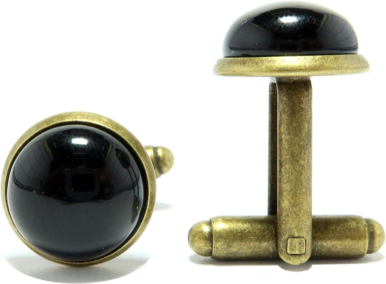 SatinCrystals Onyx Black Cufflinks 12mm Boutique Gemstone Polished Circle Metal Pair B01