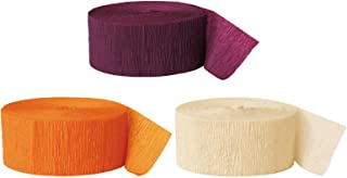 Andaz Press Crepe Paper Streamer Hanging Party Decorations Kit, 240-Feet, Burgundy Maroon, Orange, Ivory, 1-Pack, 3-Rolls, Fall Autumn Colored Wedding Baby Bridal Shower Birthday Supplies