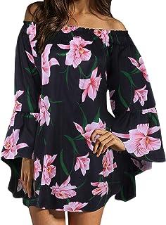 ZANZEA Vestido Floral de Hombro con Hombros Descubiertos Manga de murciélago Camiseta de túnica de Gasa Summer Beach Tops ...