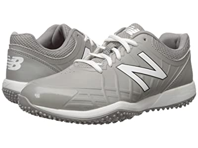 New Balance Kids 4040v5 Turf Baseball (Little Kid/Big Kid) (Grey/White) Kids Shoes