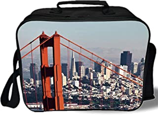 United States 3D Print Insulated Lunch Bag,San Francisco Bridge and Cityscape Metropolis Financial District,for Work/School/Picnic,Orange Baby Blue White