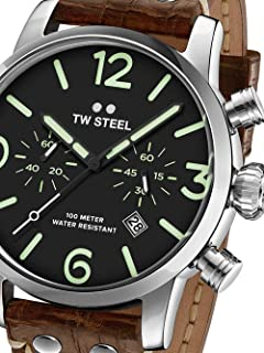 TW Steel Men's Maverick Stainless Steel Quartz Watch with Leather Calfskin Strap, Brown, 22 (Model: MS14)
