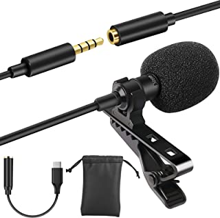 Eocean Professional Grade Lavalier Lapel Microphone Mini Directional Mic with Easy Clip on System, Perfect for Recording...