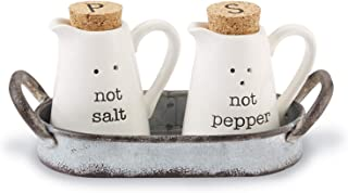 Mud Pie Farmhouse Inspired Ceramic Aluminum Salt and Pepper Caddy Set, One size, White