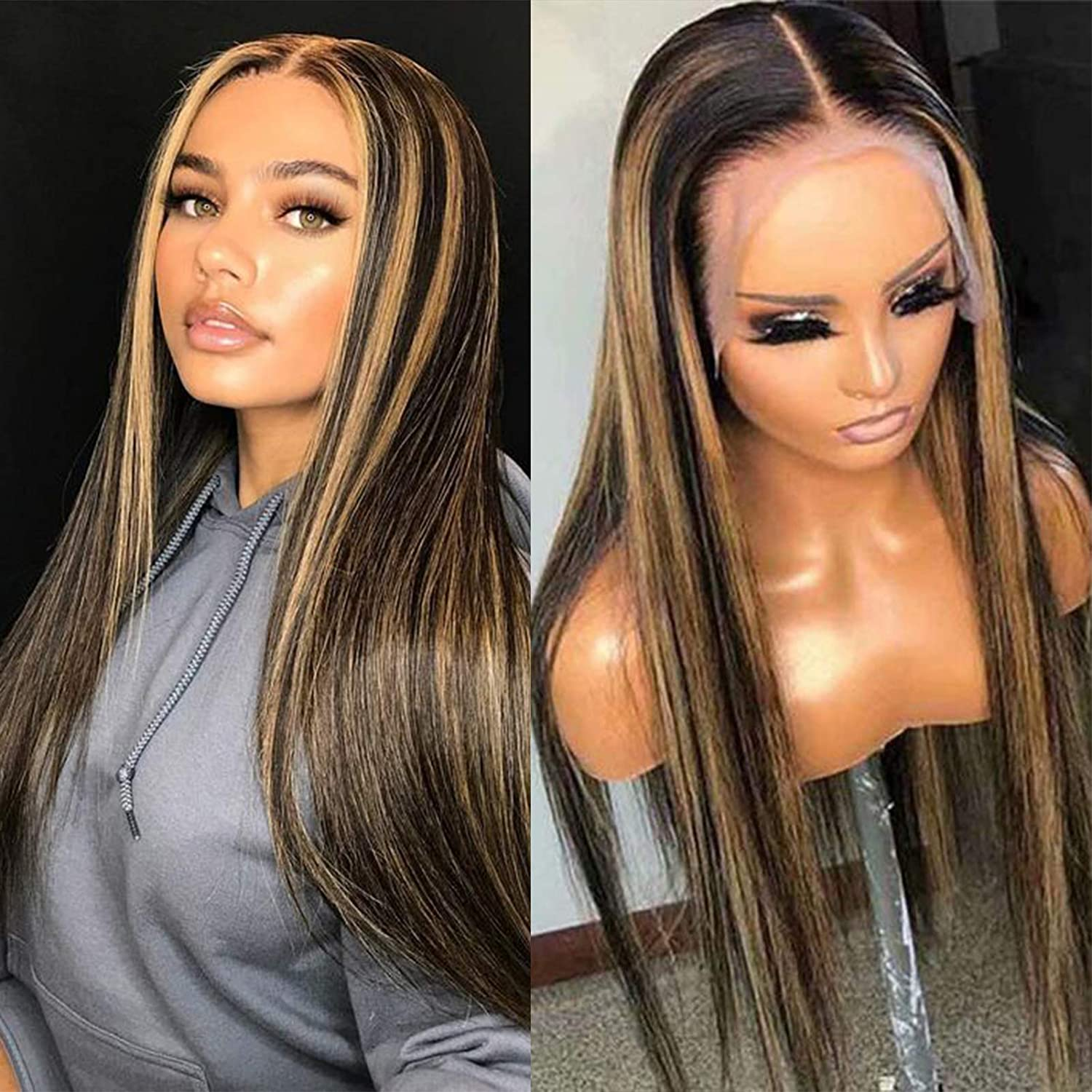 Highlight 1B27 Silk Straight Lace Front Wigs Pluc Pre Hair Human Limited time trial Max 79% OFF price