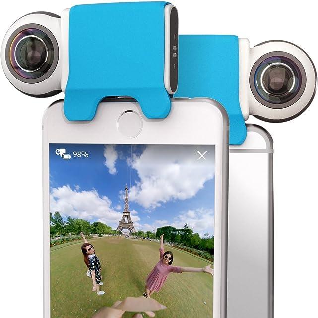Giroptic iO HD 360 Degree Camera for iOS – Cámara con 2 Lentes de Calidad para Apple. Foto vídeo panorámicas. Tamaño de Bolsillo – Blanco y Negro