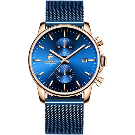GOLDEN HOUR Mens Watch Fashion Sleek Minimalist Quartz Analog Mesh Stainless Steel Waterproof Chronograph Watches for Men with Auto Date