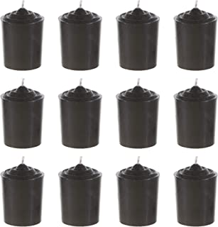 Mega Candles 12 pcs Unscented Black Votive Candle, Hand Poured Wax Candles 15 Hours 1.5 Inch x 2.25 Inch, Home Décor, Wedding Receptions, Baby Showers, Birthdays, Celebrations, Party Favors & More