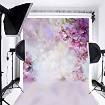 Laeacco Floral Background 5x7ft Oil Painting Watercolor Drawing Wall Flowers Photography Background Light Purple Blooming Spring Cherry Blossoms Abstract Photo Studio Backdrop Bokeh Children Photos