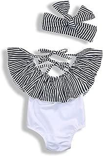 Baby Girls Ruffle Swimsuit Infant Girl Striped Off Shoulder Bikini + Bow Headband Bathing Suit One Piece
