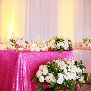 60x102-Inch-Hot Pink-Sequin Rectangular Tablecloth for Party Cake Dessert Table (Hot Pink)