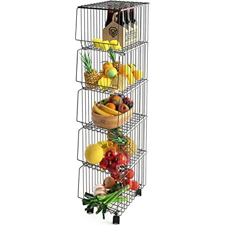 Mocosy Panier en Fil avec Roues et Couvercle, Support Utilitaire de Panier de Fruits Roulant empilable à 5 Niveaux, bac de Rangement pour Cuisine