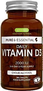 Pure & Essential Daily Vegetarian Vitamin D3 2000iu, Cholecalciferol, 365 Small Tablets