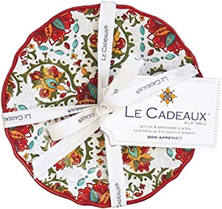 Le Cadeaux 097ALGR Allegra Appetizer Plate Set of 4, 6 inches, Red
